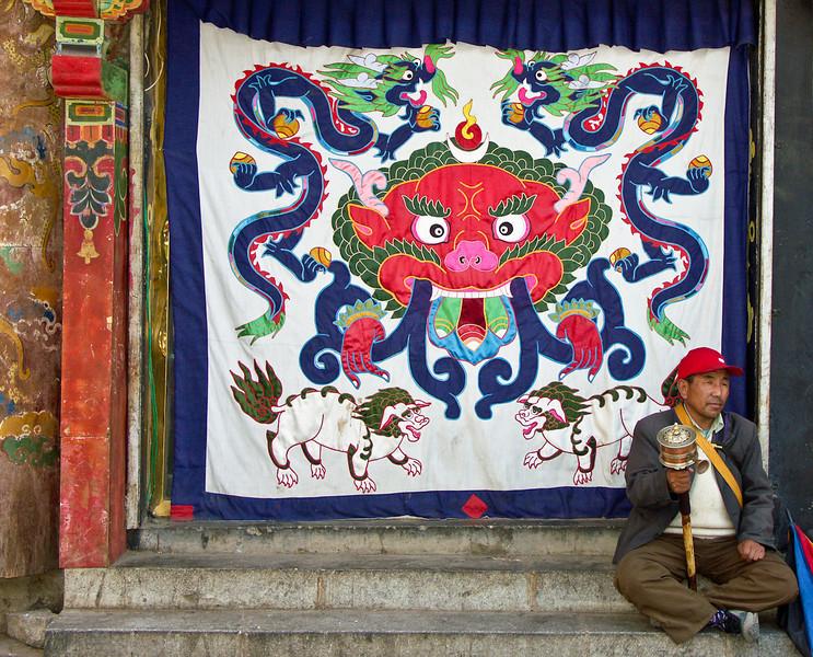 Resting pilgrim, Lhasa, Tibet