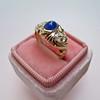 1.75ctw Cab Sapphire and Old European Cut Diamond 3-stone Ring 3