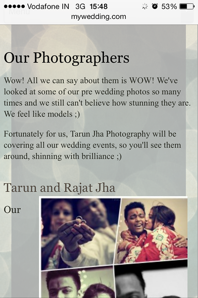Testimonial On Clients Wedding Website