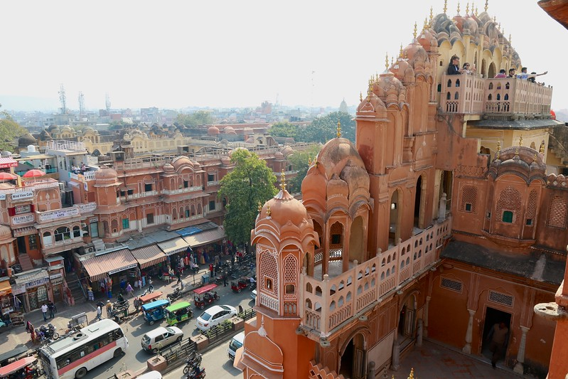 "The original intention of the lattice was to allow royal ladies to observe everyday life in the street below without being seen, since they had to obey strict ""purdah"" (face cover).  - Hawa Mahal, Jaipur"