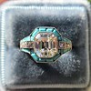 2.23ct Art Deco Emerald Cut and Turquoise Halo Ring 15