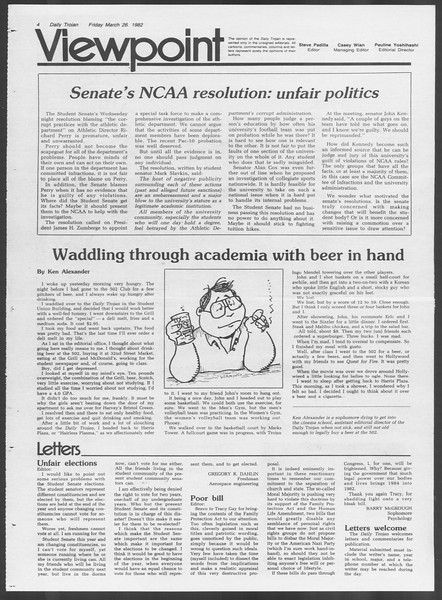 Daily Trojan, Vol. 91, No. 51, March 26, 1982