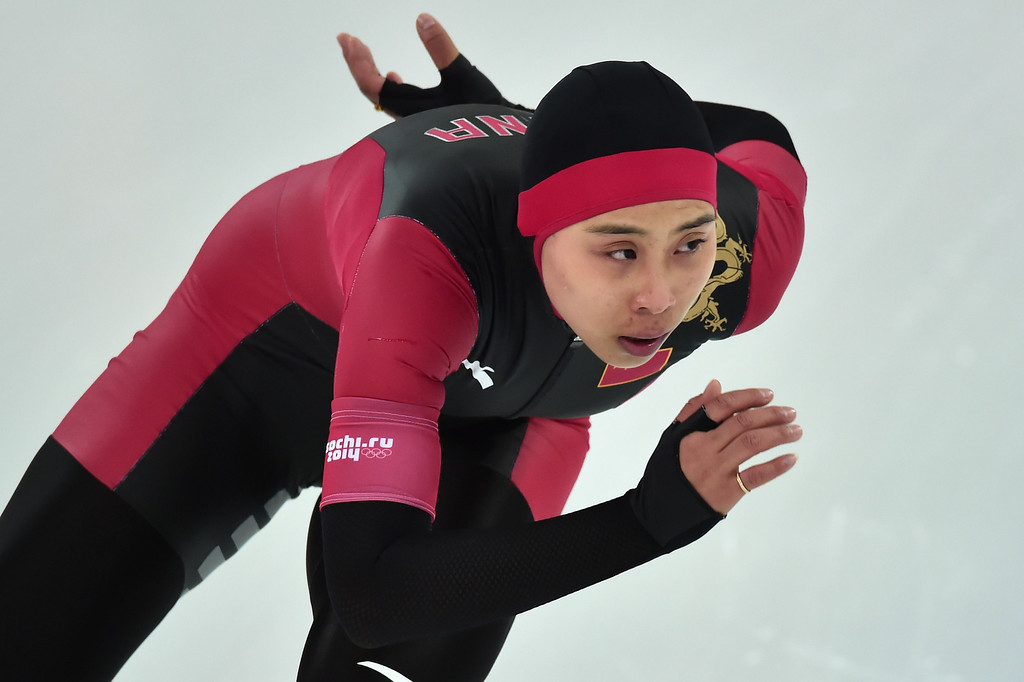 . China\'s Zhao Xin competes in the Women\'s Speed Skating 1500 m at the Adler Arena during the Sochi Winter Olympics on February 16, 2014.   DAMIEN MEYER/AFP/Getty Images