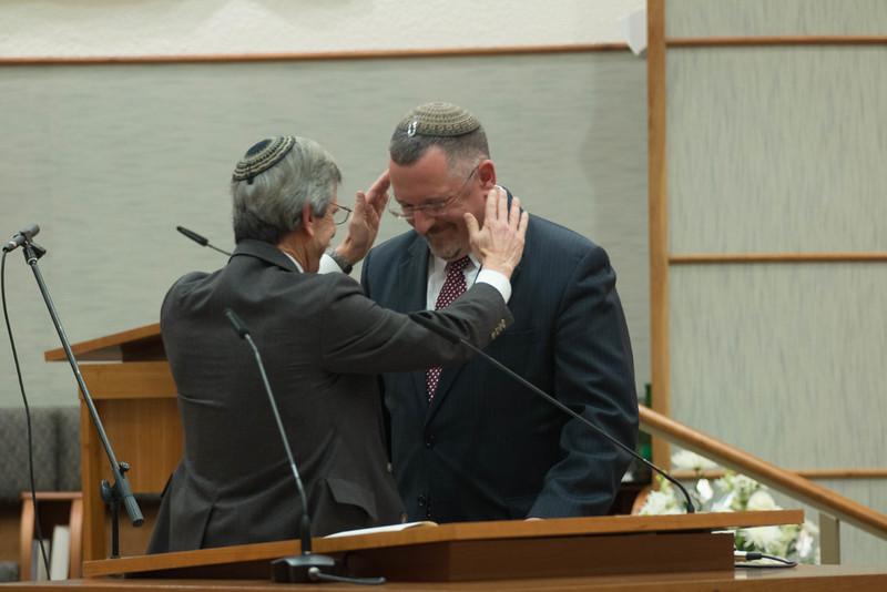 Rabbi Emeritus Bill Rudolph gives Rabbi Harris the priestly blessing -- Installation Ceremony for Rabbi Greg Harris as Head Rabbi at Congregation Beth El, Bethesda, MD, February 20, 2016