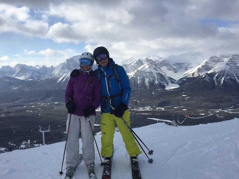 The Abramsons on top of Lake Louise ski resort