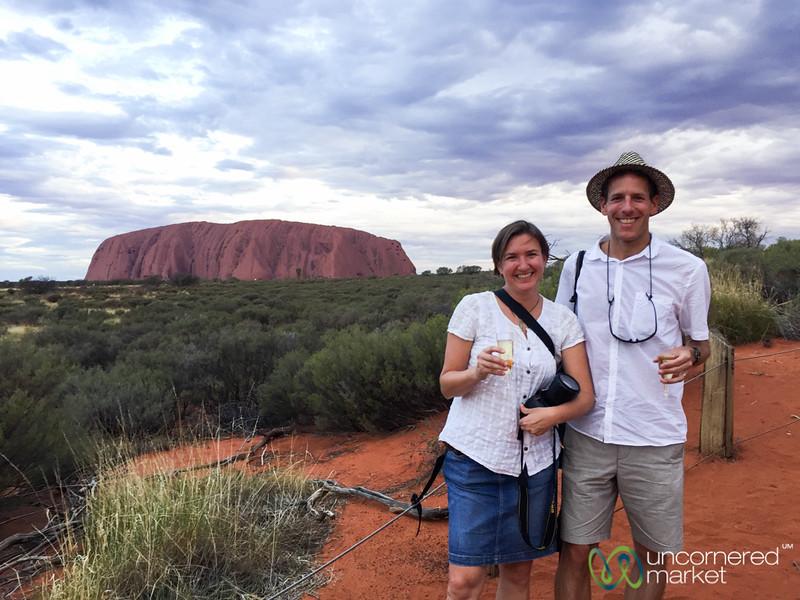 Enjoying Champagne at Sunset - Uluru, Northern Territory