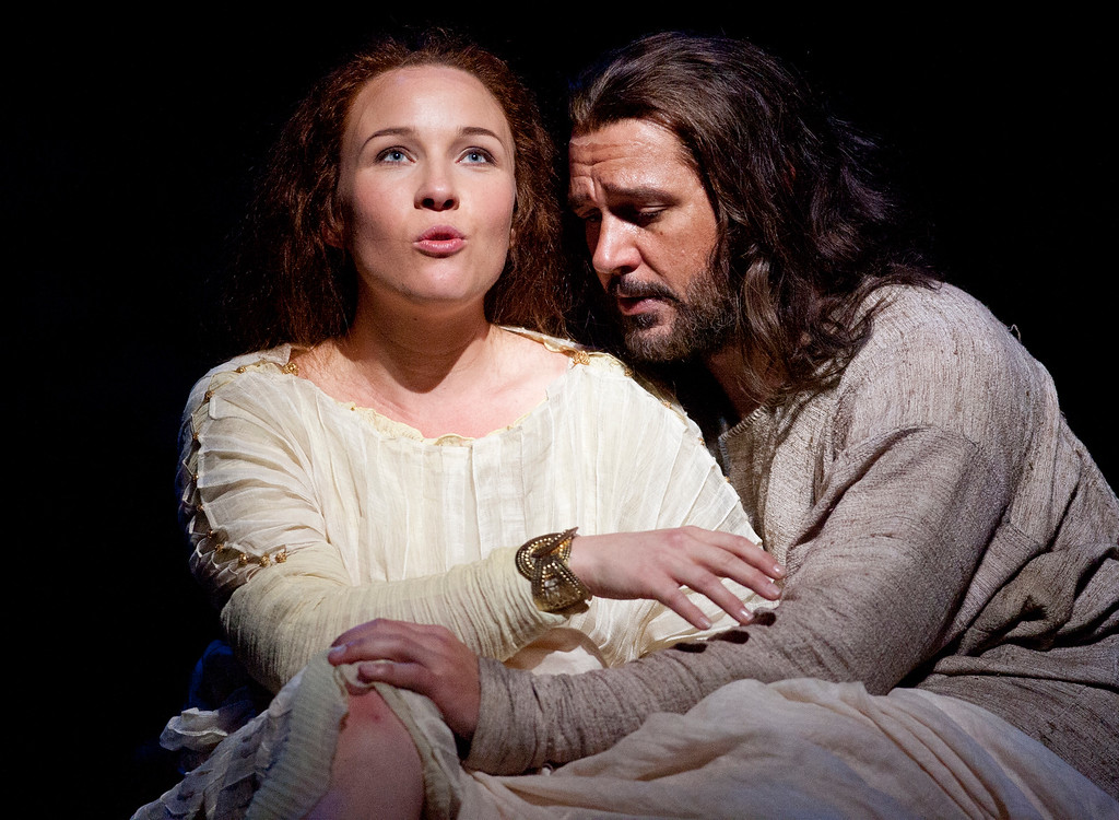 ". Sasha Cooke, left, portrays Mary Magdalene, and Nathan Gunn plays Yeshua (Jesus) in San Francisco Opera\'s world premiere of Mark Adamo\'s ""The Gospel of Mary Magdalene,\"" Sunday, June 16, 2013 at the War Memorial Opera House in San Francisco. (D. Ross Cameron/Bay Area News Group)"