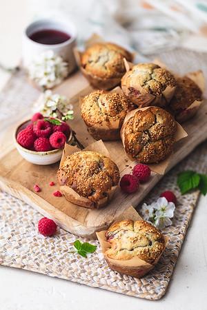 Muffins Framboises/noisettes
