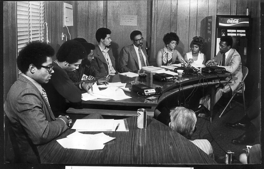 . 5-20-72: Members of the Colorado delegation to the National Black Convention are from left, Ray Jones, Gregg McKnight, Regis Groff, Wellington Webb, State Sen. George Brown, Edna Mosley, Toni McCann and King Trimble. (Photo by Dave Buresh/The Denver Post)