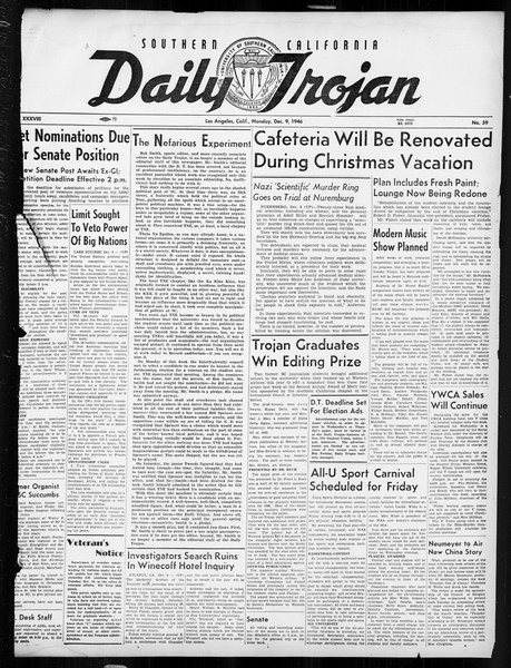 Daily Trojan, Vol. 38, No. 59, December 09, 1946