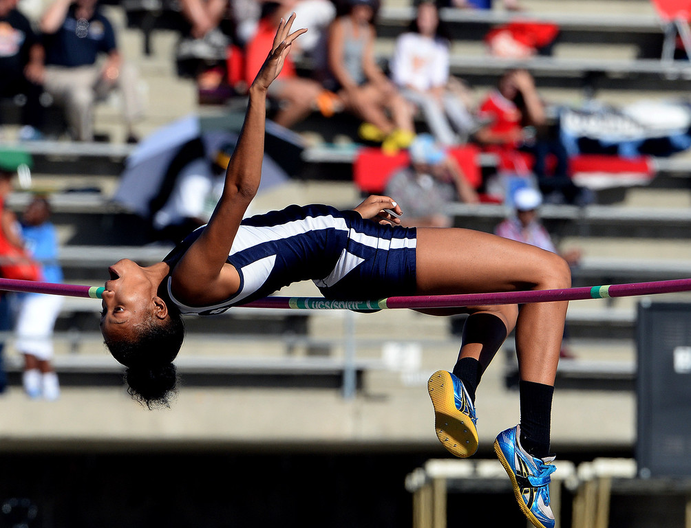 . Redlands\' Savannah Miller competes in the high jump during the CIF-SS Masters Track and Field meet at Falcon Field on the campus of Cerritos College in Norwalk, Calif., on Friday, May 30, 2014.   (Keith Birmingham/Pasadena Star-News)