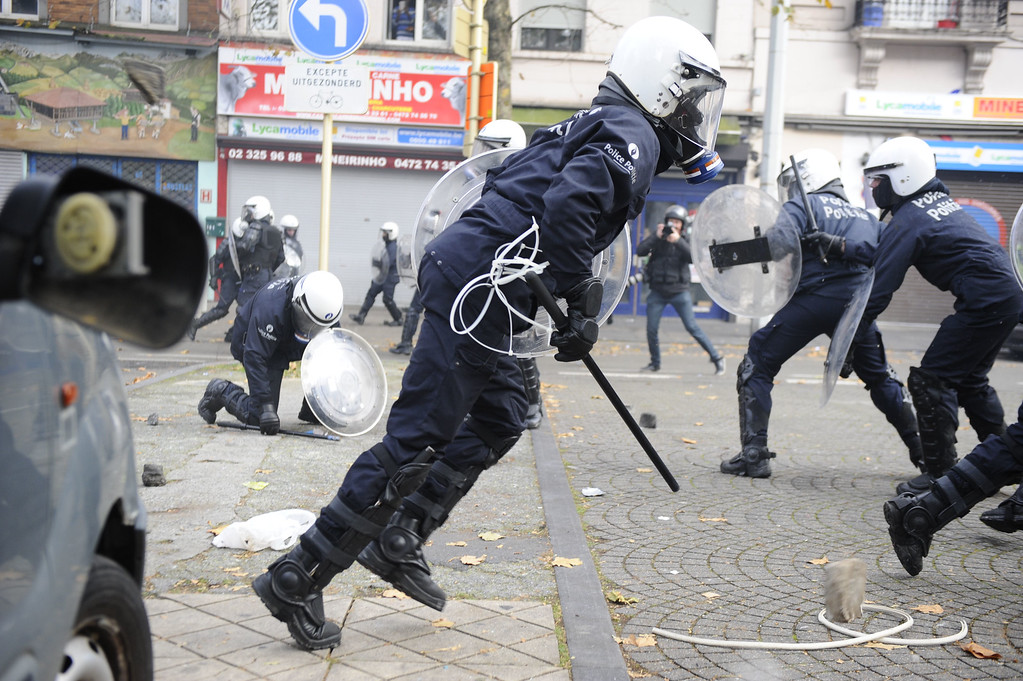 . Anti riot police officers fight with protestors on November 6, 2014 in Brussels, during a huge march, the first mass protest against the new centre-right government\'s austerity policies.    AFP PHOTO / JOHN THYS/AFP/Getty Images