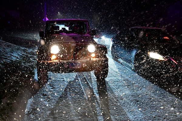 11/15/2018 MIke Orazzi | Staff A 2010 Jeep JK during Thursday night's snow storm.