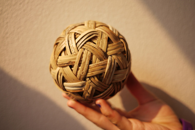 A chinlon ball for playing cane ball in Burma. This is a hard, rattan ball they use all over the country to play games!