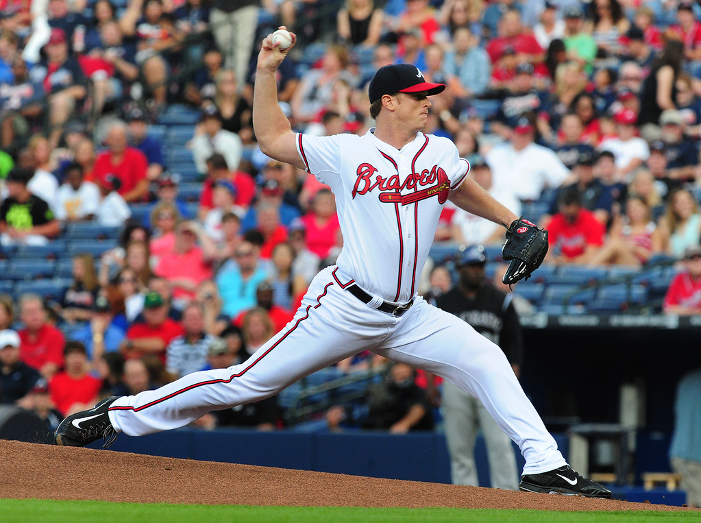 . ATLANTA, GA - MAY 23: Gavin Floyd #32 of the Atlanta Braves throws a 1st inning pitch against the Colorado Rockies at Turner Field on May 23, 2014 in Atlanta, Georgia. (Photo by Scott Cunningham/Getty Images)