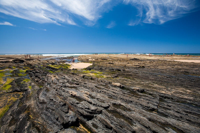 Geologial strata, Monte Clerigo beach. Town of Aljezur, district of Faro, region of Algarve, southwestern Portugal