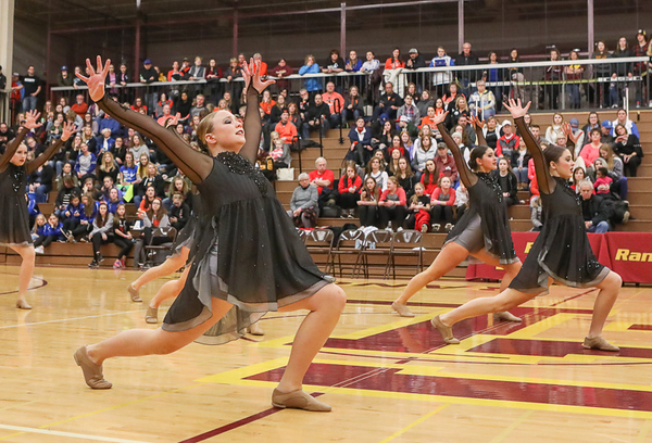 The Anoka Dance Team performs their Jazz dance at the Section 4AAA Tournament on Feb. 3, 2018 at Forest Lake High School.  Photo Credit: Matt Blewett