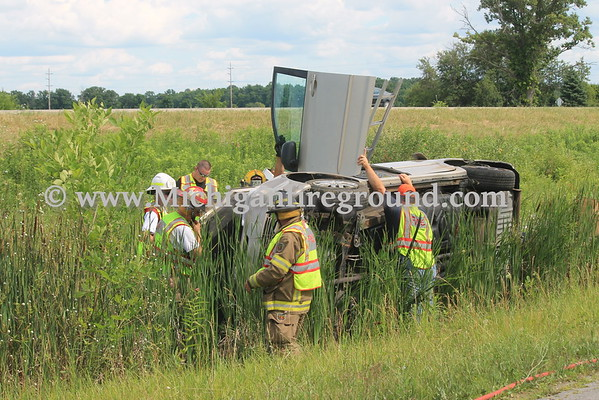 7/10/16 - Leslie rollover crash, US-127 south of Plains Rd