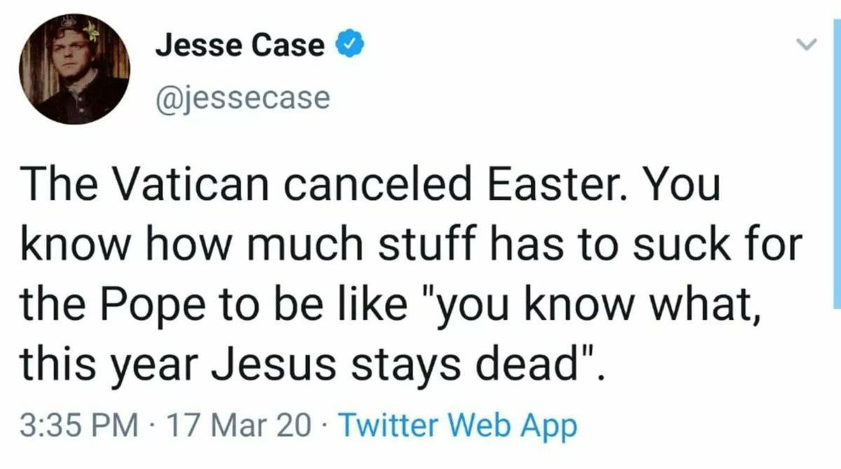 Tweet from @jessecase, March 17, 2020: