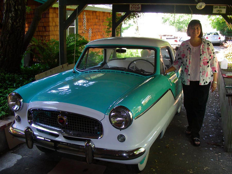 """Phyllis and her """"new"""" 1960 Nash Metro in 2008"""