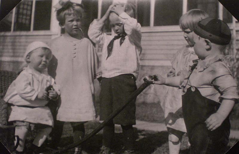 "Description of . Reports BBA FROM UP AND AWAY: ""I laughed so hard when I found this great photo of my mother-in-law, her brother and cousins. She was born in 1918, so I figure it was taken in 1922. They look so much like the Little Rascals, don't they? On the left is Uncle Ken, who will be 91 at the beginning of May. Next to him is my mother-in-law, Dor Auten, who is deceased. The chubby fellow on the right is cousin John Bohmer, from Brooten, Minn. — who was always a very thin man! Uncle Ken is a former newspaper reporter and would be surprised to see this photo."""