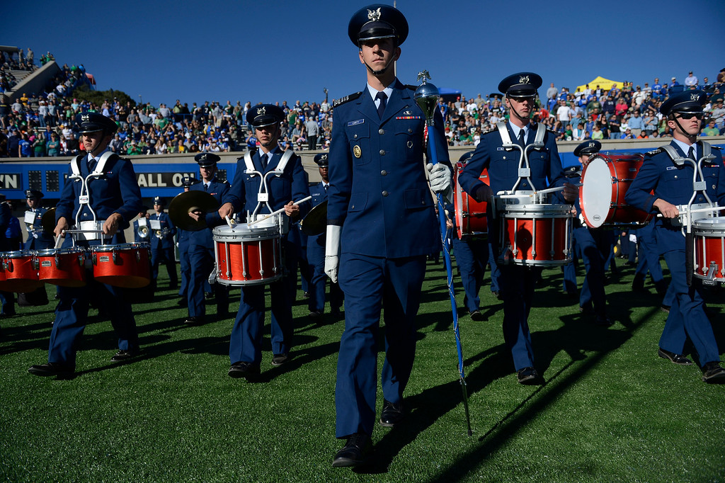 . COLORADO SPRINGS, CO - OCTOBER 26: The Air Force marching band takes the field at Falcon Stadium before the game against Notre Dame Saturday afternoon, October 26, 2013. (Photo By Andy Cross/The Denver Post)