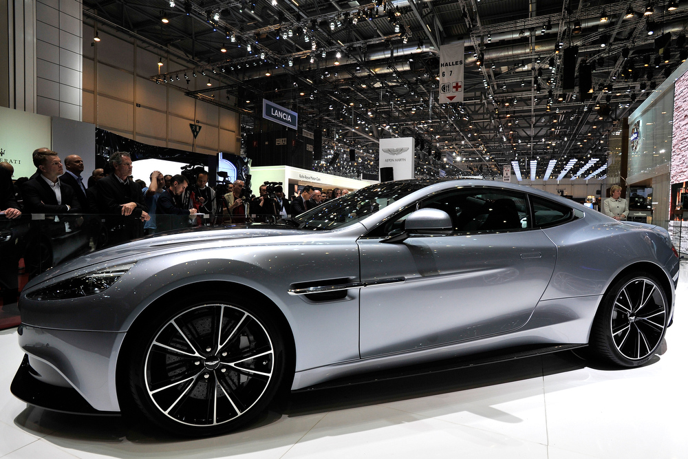 . The new Aston Martin Vanquish is seen during the 83rd Geneva Motor Show on March 5, 2013 in Geneva, Switzerland. Held annually the Geneva Motor Show is one of the world\'s five most important auto shows with this year\'s event due to unveil more than 130 new products.  (Photo by Harold Cunningham/Getty Images)