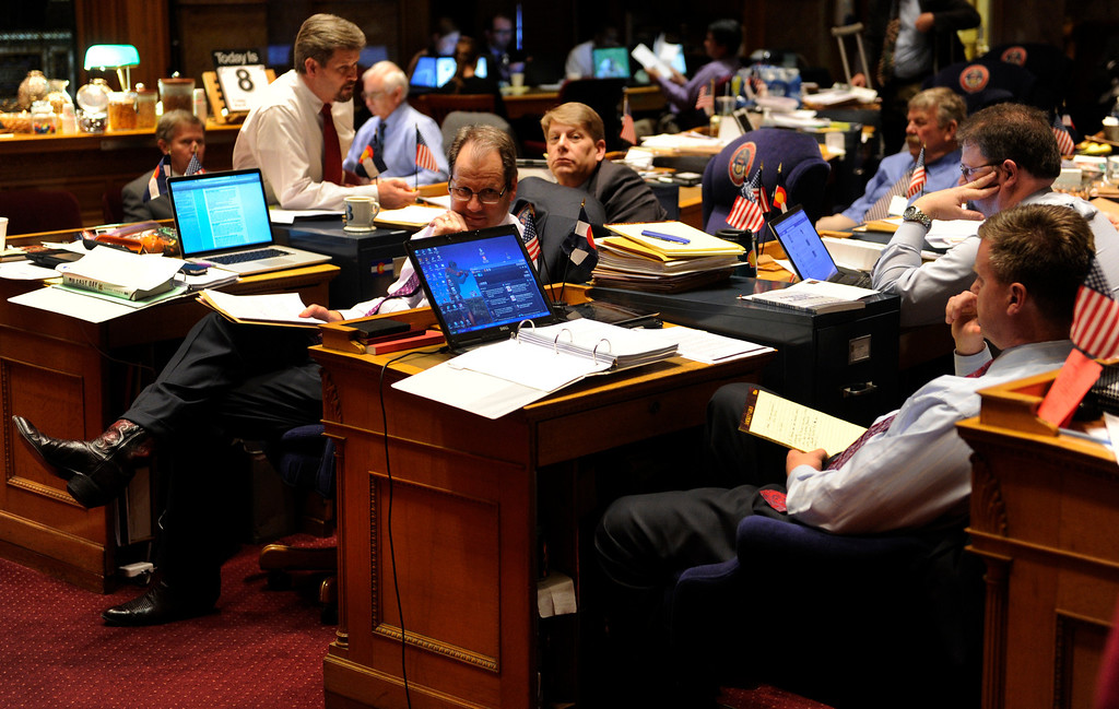 . DENVER, CO. - MARCH 8: Republican Senators listened to debate on House Bill 1224 Friday night. The legislation would limit ammunition magazines to 15 rounds. The Colorado Senate continued to debate various gun control measures Friday night, March 8, 2013. (Photo By Karl Gehring/The Denver Post)