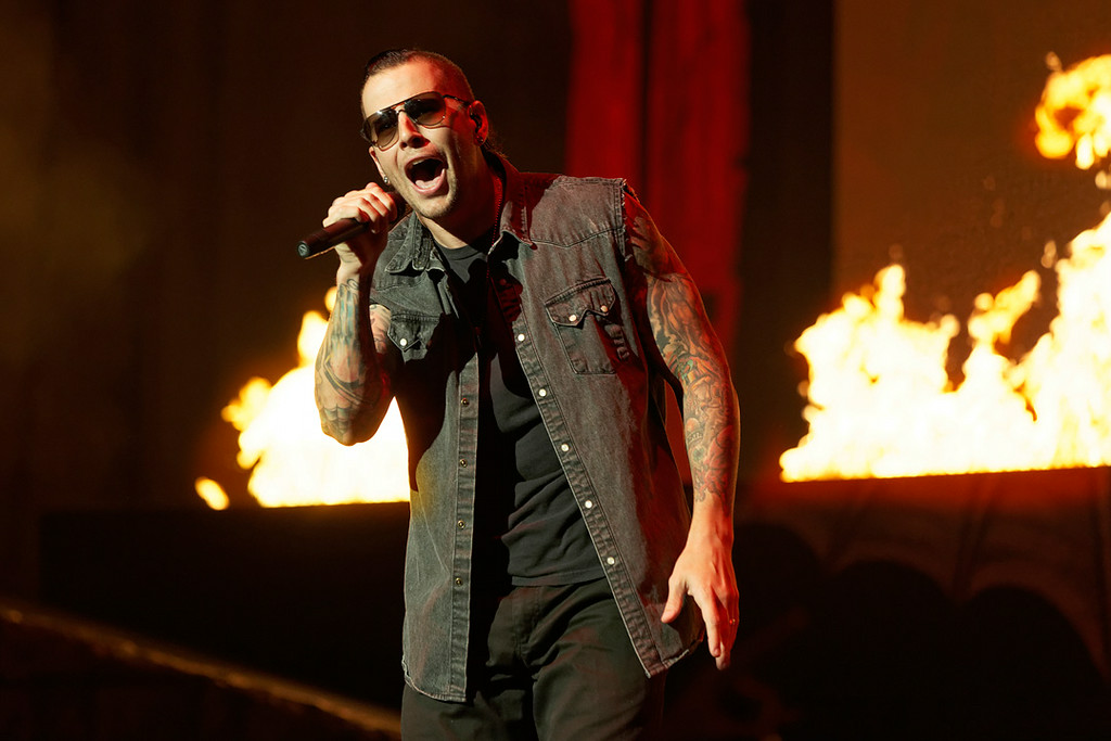 . Avenged Sevenfold\'s M. Shadows performs at Mayhem Festival on Thursday, July 18, 2014, at DTE Energy Theatre, Independence Township. Photo by Ken Settle