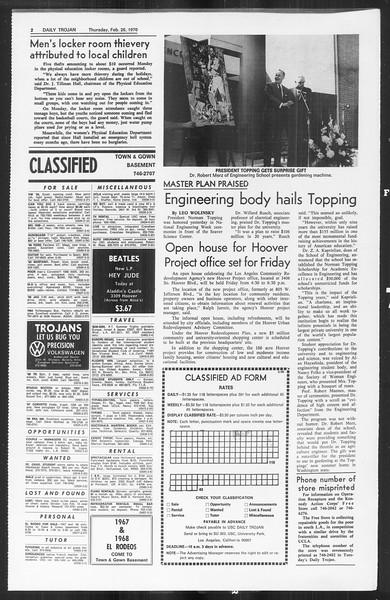 Daily Trojan, Vol. 61, No. 81, February 26, 1970