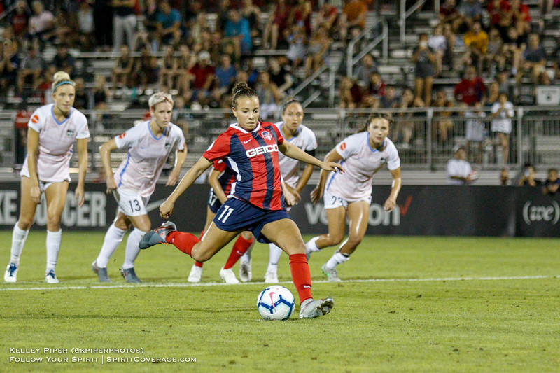 Washington Spirit forward Mallory Pugh (11) takes a penalty kick at Maureen Hendricks Field in Boyds, MD, on July 20, 2019. The attempt, which would have provided the late game equalizer, was blocked by Houston Dash goalkeeper Jane Campbell.