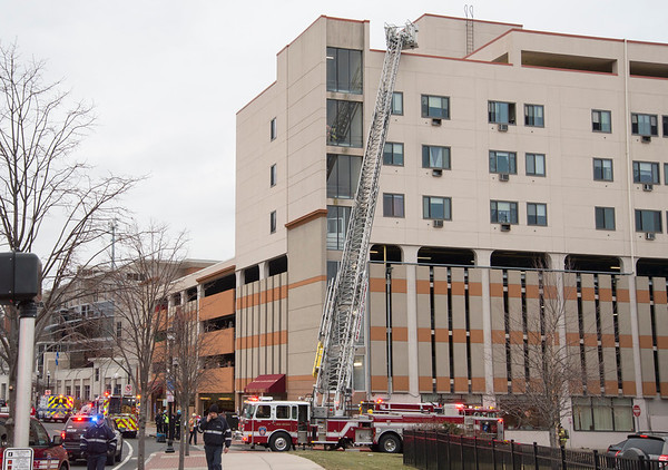 01/31/20 Wesley Bunnell | StaffrrA fire occurred at 40 Chestnut St on Friday afternoon January 31, 2020 requiring one person to be taken by ambulance for smoke inhalation. Ladder on the side of the building near Herald Square.