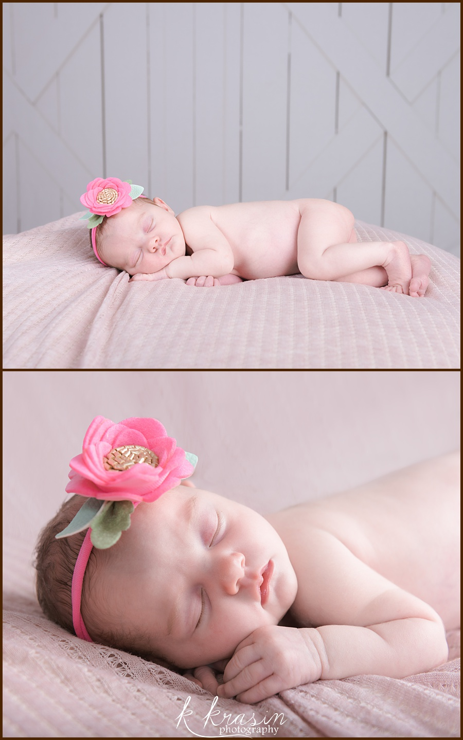 Collage of photos of newborn girl laying on side on pink blanket
