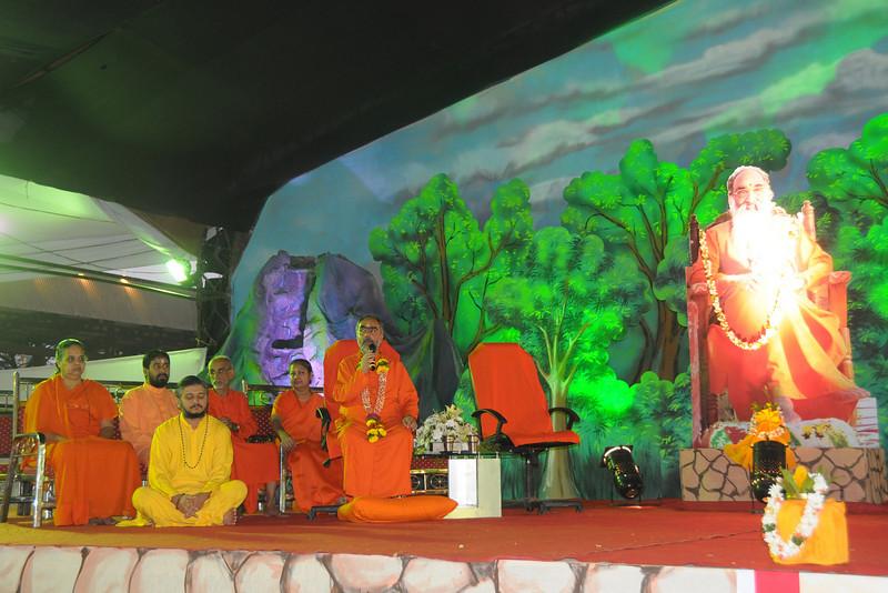 Swami Swaroopanandaji making the annoucements at Chinmaya Mission Mumbai's Maha Jnana Yajna and 108 Samashti Havan. Chant Mumbai. Shaant Mumbai.Thousands of Mumbaikars came together on Sunday, 15th Feb 2009 to jointly chant 'Hanuman Chalisa', at a congregation called 'Chant Mumbai Shaant Mumbai'. The congregation was organised by Chinmaya Mission at Andheri Sports Complex for the peace and prosperity for the city of Mumbai.
