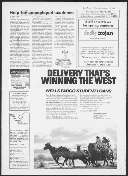 Daily Trojan, Vol. 98, No. 4, January 16, 1985
