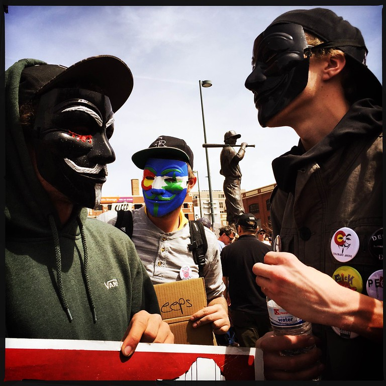 . Protestors line up outside Coors Field to protest Homeless Sweeps in Denver before the #rockies #openingday � @shootsethshoot  Denver post photographer Seth McConnell covered the Colorado Rockies opening day, on April 8, 2016, using the photo app Hipstamatic and publishing on Instagram.