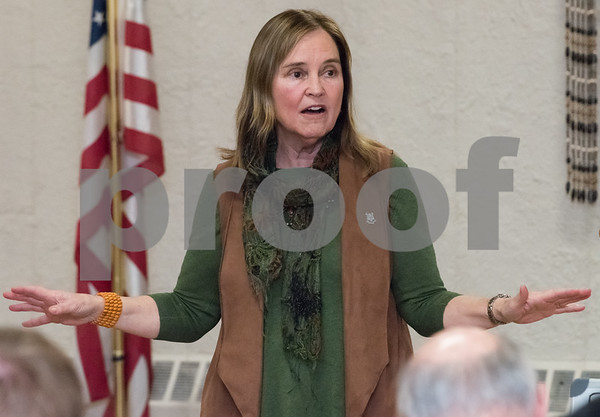 03/15/18 Wesley Bunnell | Staff Incumbent Secretary of the State Denise Merrill speaks at the Pulaski Club on Thursday evening as she along with other Democratic candidates for state office met with the Democratic Town Committee as well as New Britain residents.
