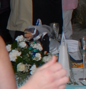Terrible image of the centerpiece at the sweetheart table.  You'll have to go to Lawrence photo to see some better ones, at least until someone uploads one into the guest gallery I setup.