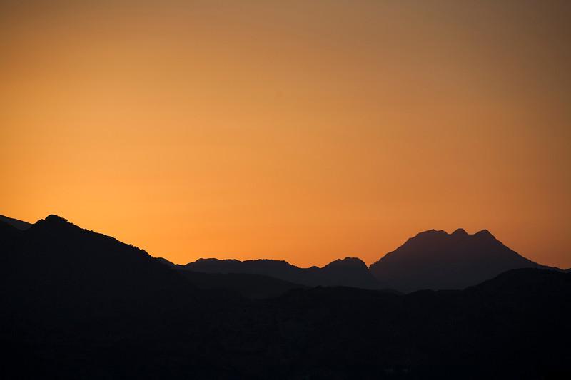 Mountains at sunset, Ronda, province of Malaga, Andalusia, Spain