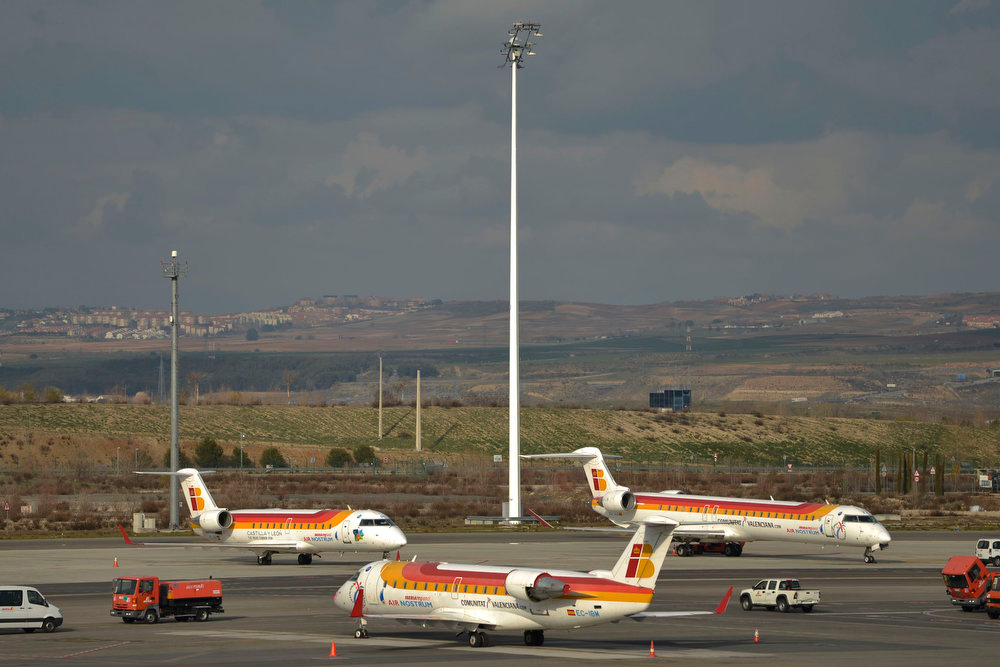 . A picture taken on February 18, 2013 shows planes of Spanish airline Iberia parked on the tarmac of Madrid-Barajas airport on February 18, 2013 in Madrid, as Iberia workers launched a five-day strike against job cuts. Iberia\'s cabin crew, ground staff and maintenance workers are striking from Monday to Friday in the first of a series of three five-day strikes to protest plans to axe 3,800 jobs. PEDRO ARMESTRE/AFP/Getty Images