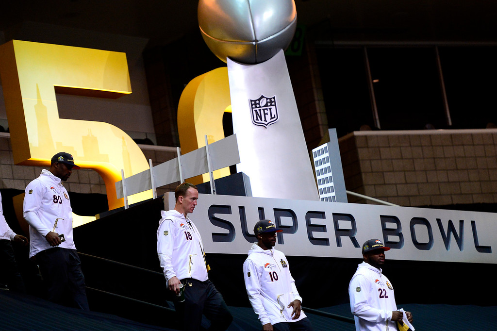 . SAN JOSE, CA - FEBRUARY 01: Denver Broncos quarterback Peyton Manning (18) and the team during Super Bowl 50 Opening Night at the SAP Center, San Jose, CA. February 01, 2016 (Photo by Joe Amon/The Denver Post)