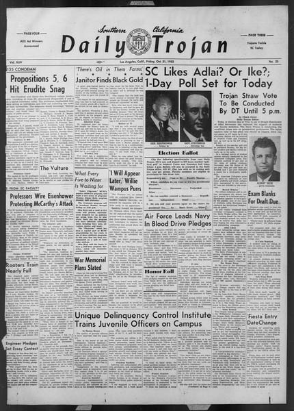 Daily Trojan, Vol. 44, No. 35, October 31, 1952