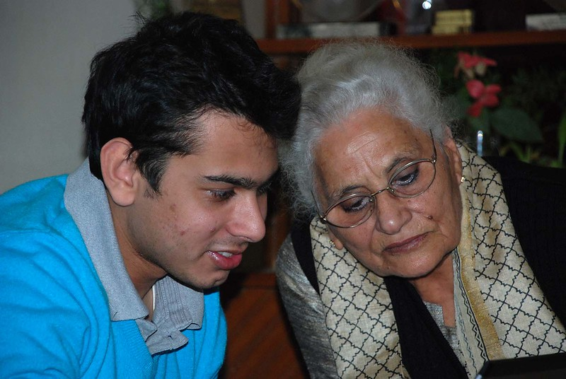 Utsav with his Naani