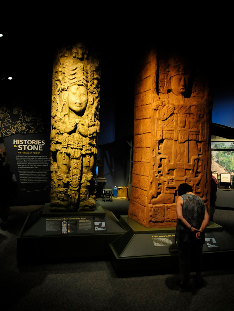 . Replicas of two stone stella from the Late Classic period, A.D. 731 at left, and A.D. 775 at right. (Pioneer Press: Scott Takushi)