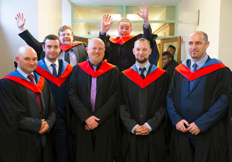 30/10/2015. Waterford Institute of Technology Conferring. Pictured are Graduates in Engineering,  Electronic Engineering are Mike Wall, Dungarvan, Co. Waterford, Shane Shortiss, Carrick On Suir, Mark MacManus, Waterford, Michael Bourne, Bantry, John Lonergan, Tipperary... Jumping behind are Mark Dungan, Mullinavat, Co. Kilkenny and James Doughty, New Ross, Co. Wexford. Picture: Patrick Browne