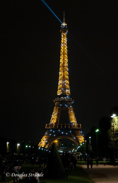 The Eiffel Tower at night seen from the Champs de Mars park
