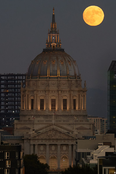 Moonrise over city hall