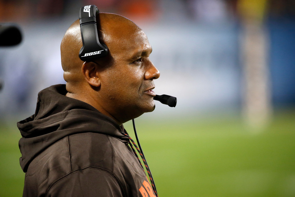 . Cleveland Browns head coach Hue Jackson during the first half of an NFL preseason football game against the Chicago Bears, Thursday, Aug. 31, 2017, in Chicago. (AP Photo/Charles Rex Arbogast)