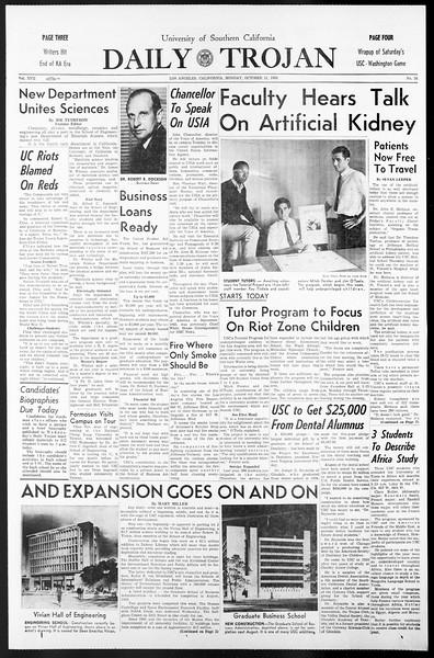 Daily Trojan, Vol. 57, No. 16, October 11, 1965