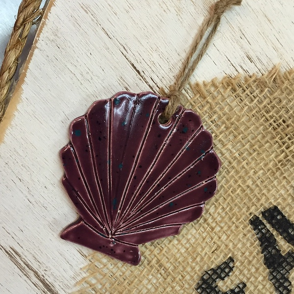 Scallop Shell Ceramic Ornament - Deb C. Steiner